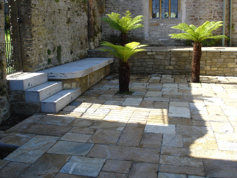 Purbeck paving seating