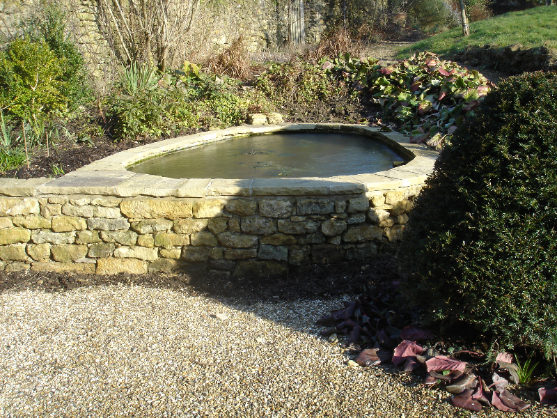 Water features and pond design and build by marshall james for Raised garden pond design ideas